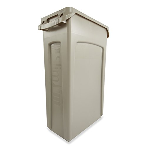 Rubbermaid Commercial Slim Jim Trash Can,23 Gallon, Beige, FG354060BEIG