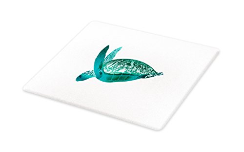 Lunarable Turtle Cutting Board, Tropical Climate Animal Hawaii Fauna Underwater Diving Aqua Reptile, Decorative Tempered Glass Cutting and Serving Board, Small Size, Jade Green Pale Sea Green by Lunarable