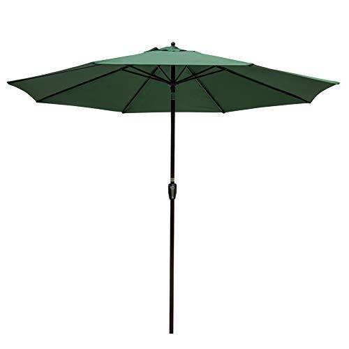 Sundale Outdoor 10FT Market Umbrella Table Umbrella with Crank and Auto Tilt, Aluminum Ribs, Polyester Canopy Shade for Patio, Garden, Deck, Backyard, Pool, Dark Green