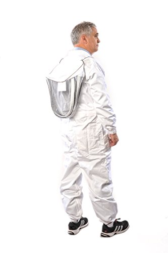 Beekeeping Suit by Forest Beekeeping | Suitable for Beginner and Commercial Beekeepers | White Cotton Coverall with Hood | Brass Zippers | Thumb Straps | 12 inch Leg Zippers (Small)