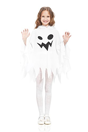 Scary Unusual Halloween Costumes (Kids' Unisex Ghost Ghostly Spirit Poltergeist Dress Up & Role Play Halloween Costume (6-8 years))
