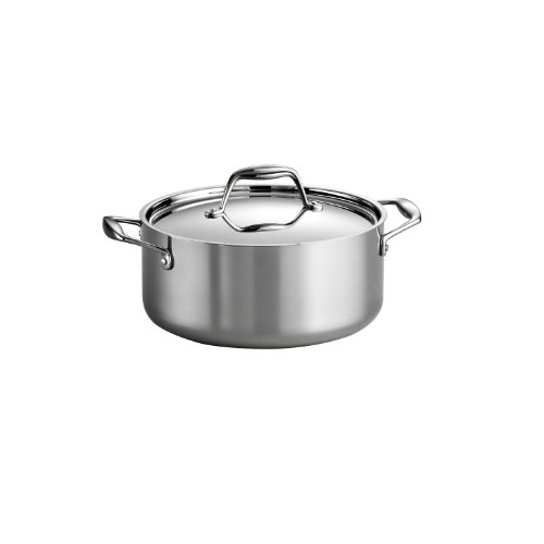 Tramontina 80116/025DS Gourmet Stainless Steel Induction-Ready Tri-Ply Clad Covered Dutch Oven