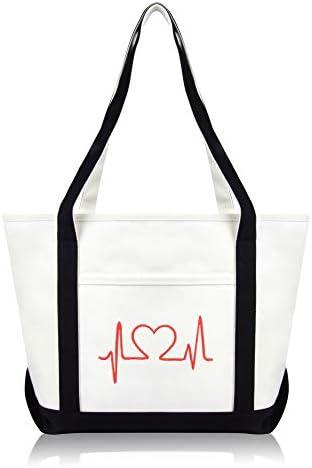 DALIX Heartbeat Embroidered Premium Cotton