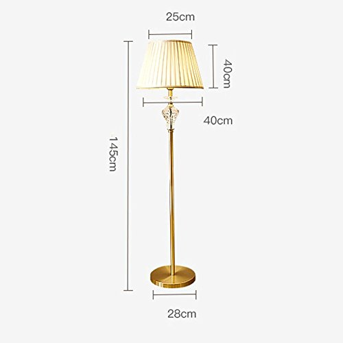 (DYY American Copper Crystal Floor Lamp, Linen Fabric Shade, Hand-folded, Simple Home Living Room Bedroom Bedside Lamp (Size : C))