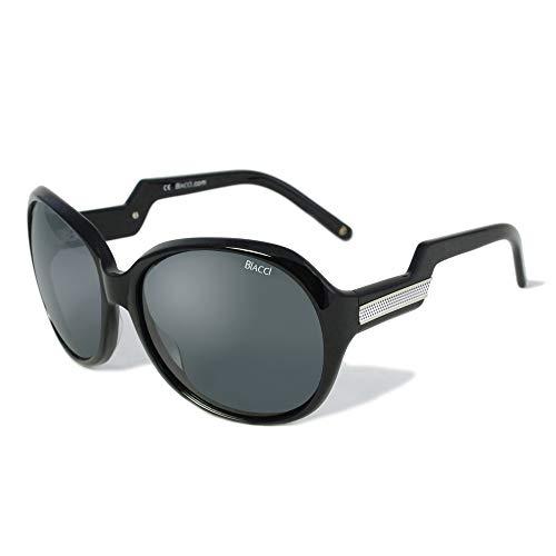 - Biacci Acetate Polarized Sunglasses for Women with Gift Box and Hard Case - Retro Oversized Designer Frames (Black)