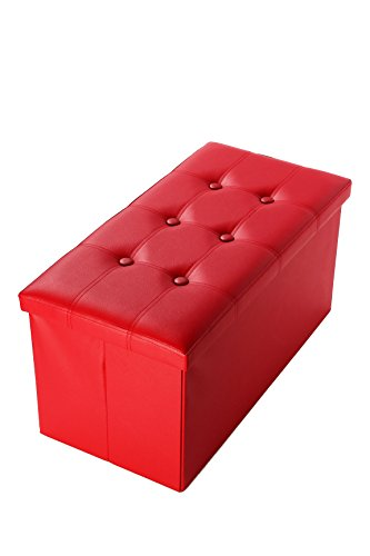 Faux, Folding, Wooden, Leather, Storage Ottoman With Tufted Design 30 x 15 x 15 Inches, Red by Juvale