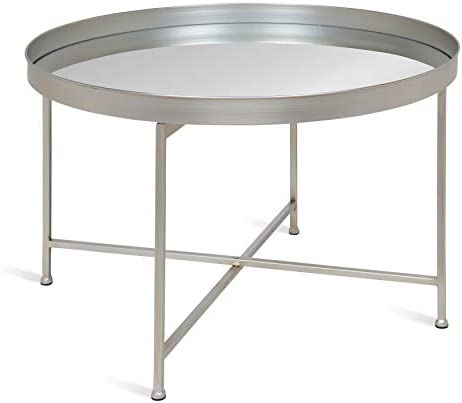 Kate and Laurel Celia Metal Foldable Round Accent Coffee Table, 28.25 x 28.25 x 19 , Mirrored Surface and Silver Frame, Modern Minimalist Design and Detachable Magnetic Tabletop