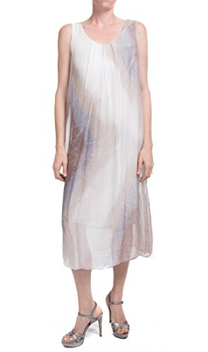 Made In Italy Sleeveless Watercolor Dress (Taupe) ()