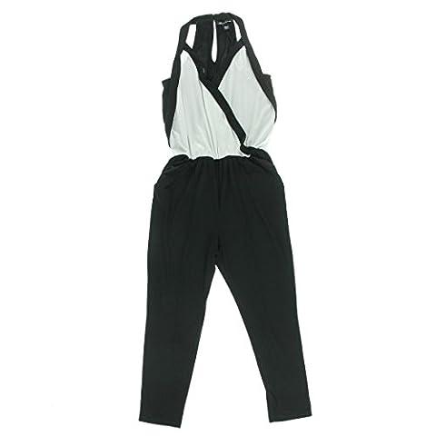 Kenneth Cole New York Womens Gwyneth Matte Jersey Colorblock Jumpsuit B/W L - Matte Jersey Surplice