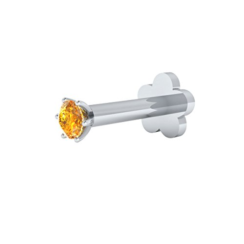 - Animas Jewels Natural Citrine Solitaire Nose Stud/Lip Labret/Screw Ring Piercing Pin Bone 14Kt White Gold Round Cut 6-Prong Setting. Length 6 (1.70)