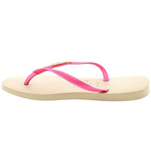 Damen Havaianas Slim Logo Metallic Lässig Strand Flip Flop Sandalen Sand Grau/Fuchsia