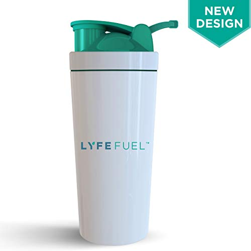 BPA Free Shaker Bottle by LyfeFuel - Non-Plastic, Stainless Steel Design- Ideal as a Water Bottle and Shaker for Pre Exercise Hydration & Post Workout Fuel - Mixer Cap Easily -