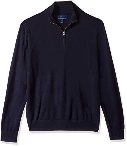BUTTONED DOWN Men's Italian Merino Wool Lightweight Cashwool Quarter-Zip Sweater, Midnight Navy, Large