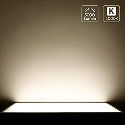 LE 2 x 4FT Dimmable LED Flat Panel Light, 50W, 5500 Lumens, Ultra Thin Edge-Lit Ceiling Lamp Fixture, 4000K Neutral White, 0-10V Dimming, AC100-277V, White Frame Panel, DLC-Qualified, Pack of 2