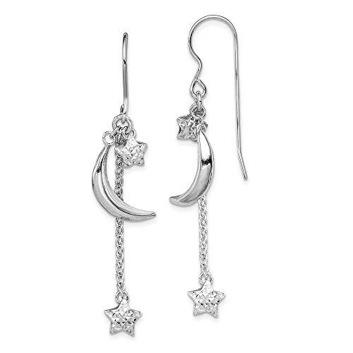 Mia Diamonds 925 Sterling Silver Rhodium Plated Diamond-Cut Puff Stars and Moons Earrings (48mm x 7mm)