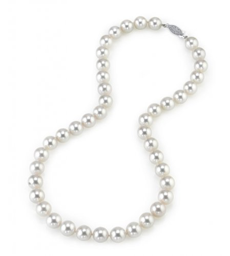 THE PEARL SOURCE 14K Gold 9.0-9.5mm Hanadama Quality Round White Japanese Akoya Saltwater Cultured Pearl Necklace in 17