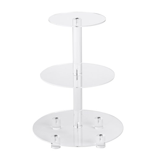 "YestBuy 3 Tier Maypole Round Wedding Party Tree Tower Acrylic Cupcake Display Stand (3 Tier Round with Base(6"" between 2 layers))­"