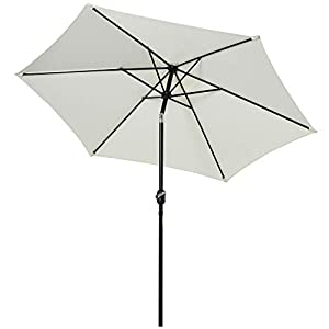 Outsunny Sombrilla Parasol para Jardín Patio Terraza Playa Piscina Reclinable con Manivela Protector UV Φ2.7×2.35m Aluminio