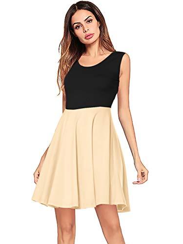 Amoretu Women Summer Casual Sleeveless Fit Flare A-line Skater Dress (Pale Yellow, XL)