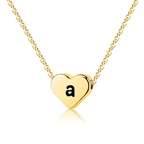WIGERLON Initial Letter Heart Necklace:Stainless Steel 14K Gold Plated for Women and Girls from A-Z Letter -