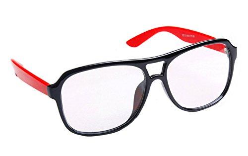 [FancyG® Classic Fashion Round Clear Lens Glasses Eyewear - Black Red] (Funny Weird Halloween Costumes)