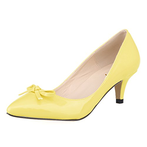 43d0d94aa575 ZriEy(TM) Women s Middle heel shoes Bow Simple Pumps Elegant Sexy Fashion  Pointed Toe Shoes Yellow size10 - Buy Online in Oman.