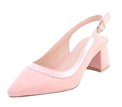 b76ca06265d SHU CRAZY Womens Ladies Faux Suede Patent Low Block Heel Sling-Back ...