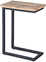 Simpli Home Skyler Solid Mango Wood and Metal 18 inch wide Rectangle Industrial C Side Table in Natural, Fully