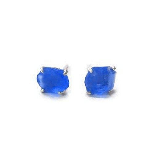 Blue Sea Glass Stud Earrings in Sterling Silver