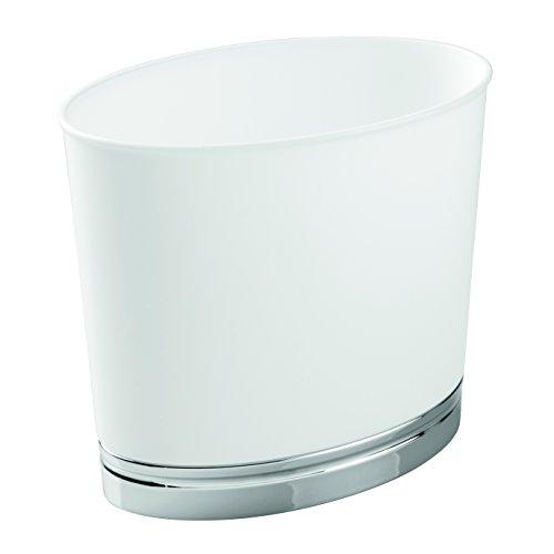 InterDesign York Oval Wastebasket Trash Can for Bathroom, Kitchen, Office - White/Chrome