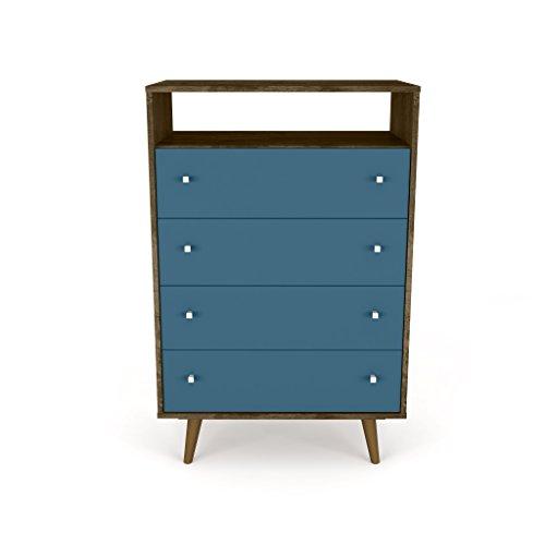 Manhattan Comfort 209BMC93 Liberty Modern 4 Drawer Bedroom Dresser and TV Stand, Brown/Blue