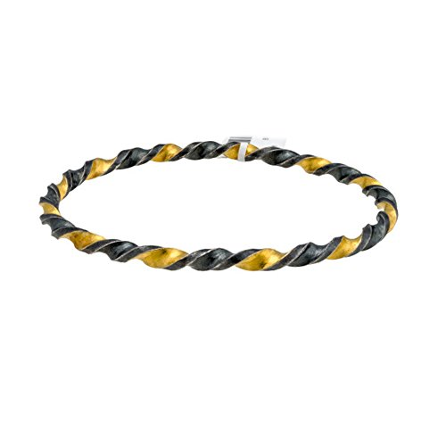 Gurhan Yellow Necklace - Loved Luxuries Gurhan 'Midnight' Twisted Bangle Bracelet in Sterling Silver