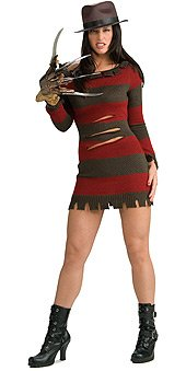 Secret Wishes Miss Krueger Costume, Red, (Freddy Krueger Sexy Costumes)