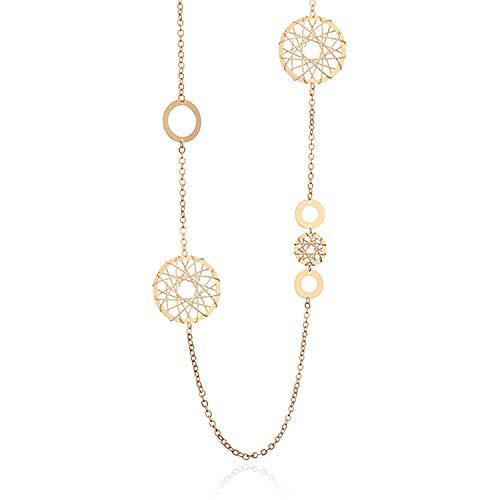 Long Necklace Women Geometric Circles Hollow Ball Heart Pendants Femme Collier Statement Neck