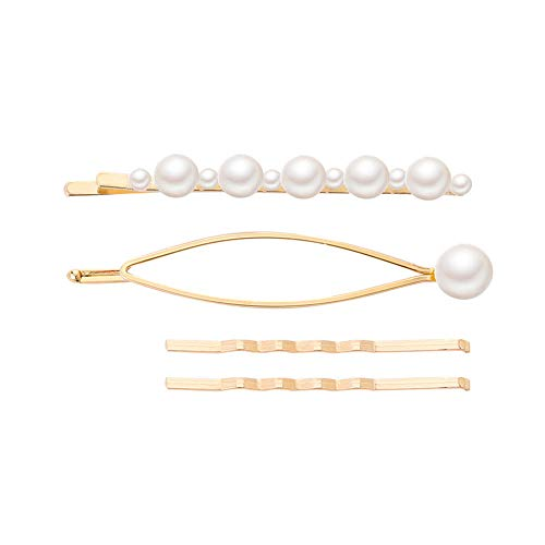 ℱLOVESOOℱ Pearls Hair Clips for Women Girls Sweet Pearl Alligator Clips Gold Hairpin Hair Accessories for Party Wedding Daily ()