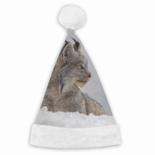Animal Lynx Cats Velvet Santa Hat with Plush Trim, Two Size Fits Most for Adult's and Child ()