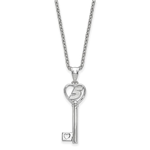 STERLING SILVER LogoArt Official Licensed NASCAR HEART KEY 1 SMALL W/ DRIVER # 5 KASEY KAHNE W/18SILVER CHAIN -
