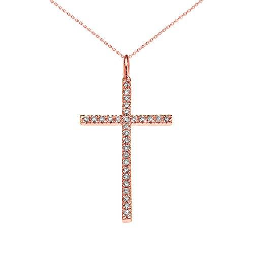 Collier Femme Pendentif 14 Ct Or Rose Oxyde De Zirconium Croix (Livré avec une 45cm Chaîne)