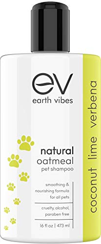 Earth Vibes Natural Oatmeal Pet Shampoo and Conditioner Wash for Pets Dogs Cats Puppy - Vet Allergy Organic Aloe Vera Formula for Dry Itchy Sensitive Skin - Cruelty and Paraben Free (1 Bottle)