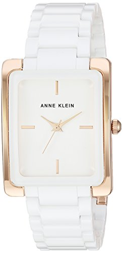 Anne Klein Women's AK/2952WTRG Rose Gold-Tone and White Ceramic Bracelet Watch
