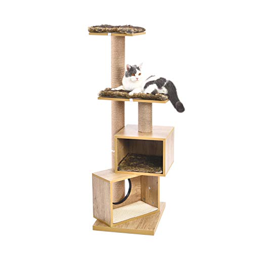 Pawz Road Multi Level Cat Tree Wooden Modern Cat Tower Scratching Post Condo Kitten Activity Center Furniture With Removable And Washable Mats Height 124cm Buy Online In Gibraltar At Gibraltar Desertcart Com Productid 152146404