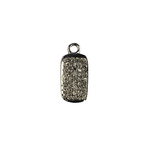Black Friday Special New Designed Natural Pave Diamond Rectangular Disc Charm Pendant 925 Sterling Silver Finding - Disk Diamond Pave
