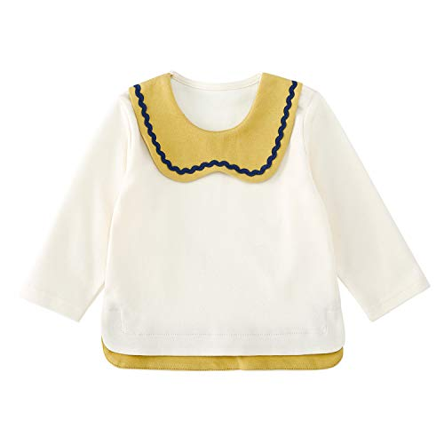 pureborn Baby Girls T-Shirt Long Sleeve Peter Pan Collar Tee Tops Cotton Blouse Tops Bottom Toddler Yellow 2-3 Years