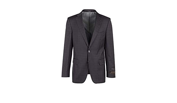 Pure Wool Jacket 47590//1 Tiglio Luxe Porto Blue with Black and Gray Windowpane//Check Pattern Slim Fit