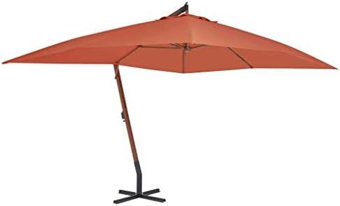 木の棒が付いている片持梁傘400x300 cmテラコッタの家の庭の芝生の庭の屋外の生活の屋外の傘の日よけ