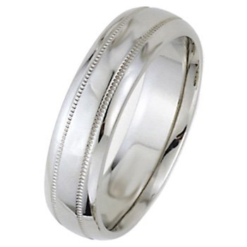 Wedding Bands; Platinum Men`s and Women`s Dome Park Ave Wedding Bands 6mm Wide Comfort Fit