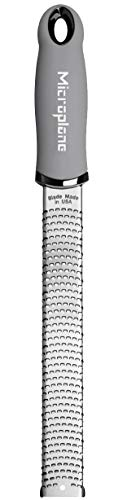 Microplane Premium Zester Grater - Made in USA Stainless Steel Blade -for zesting Citrus and Grating Cheese -Soft Touch Handle - Gray