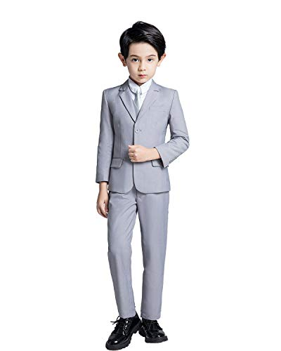 YuanLu Boys Gray Suits Kids Solid Suit and Tie Formal Outfit Clothes Size ()
