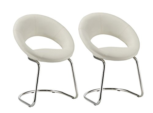 Crescent Guest Chair with Cantilever Sled Base, Set of 2 Duhome WY-679 Stool (Leatherette Guest Chair)
