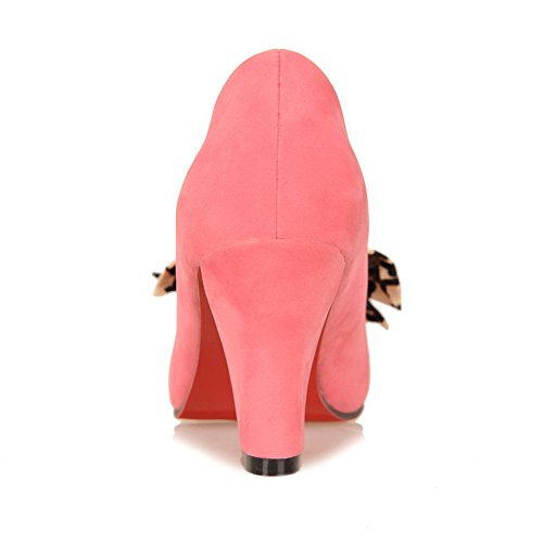 Pumps Bowknot Round and Frosted Bottom VogueZone009 Heel Mid Womens Closed Pink PU with Red Toe Solid PqxEawz7